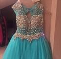 Aqua Blue Beaded V-Neck Open Back Cap Sleeve Short Homecoming Dress