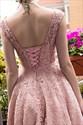 Pink Beaded Lace Cap Sleeve Tea Length Skater Homecoming Dress
