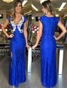 Royal Blue Applique V Neck Cap Sleeve Lace Long Prom Dress With Slit