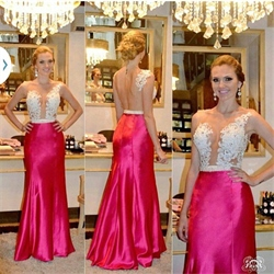 Sheer Lace Embellished Bodice Open Back Sheath Long Formal Dress