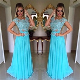 Aqua Blue Beaded Cap Sleeve A-Line Lace Bodice Chiffon Bridesmaid Gown
