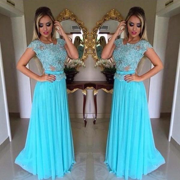 Aqua Blue Beaded Cap Sleeve A-Line Lace Bodice Chiffon Bridesmaid Gown