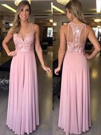 V Neck Backless Embellished Lace Bodice Chiffon Skirt Prom Dress