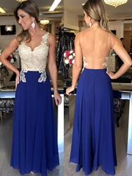 Illusion Lace Bodice Backless Embellished A Line Chiffon Prom Dress