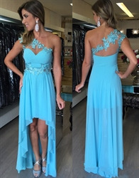 Aqua Blue One Shoulder Lace Appliqué A Line Chiffon Bridesmaid Dress