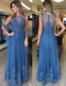 Sheer Beaded Illusion Neckline Lace Embellished Long Prom Dress