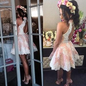 Halter Open-Back Lace Embellished Short Skater Cocktail Dress