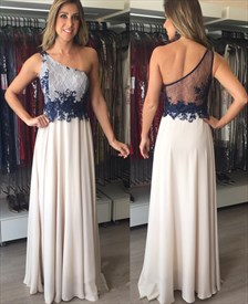One Shoulder Sheer Back Lace Bodice Chiffon Skirt Bridal Dress