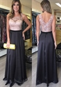 Two Tone Sheer Lace Bodice A Line Floor Length Maid Of Bridal Dress