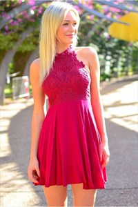 Fuchsia Halter Top High Neck Lace Bodice Short Homecoming Dresses
