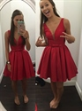 Red Deep V Neck Sleeveless Skater Homecoming Dress With Bow