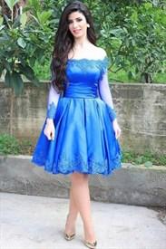 Embellished Lace Long Sleeve Off The Shoulder Short Homecoming Dress