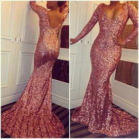 Pink Open Back V Neck Long Sleeve Sequin Floor-Length Mermaid Dress