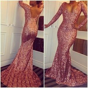 Pink Open Back V Neck Long Sleeve Sequin Floor-Length Mermaid Dress