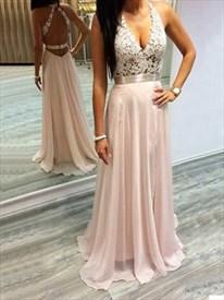 Blush Pink V Neck Embellished Backless Lace Bodice Chiffon Prom Dress