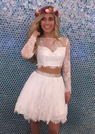 Two Piece Sheer Long Sleeve Lace Embellished Short Homecoming Dresses