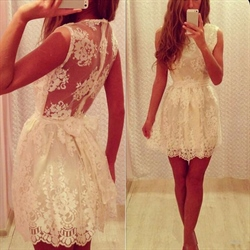 White Sheer Back Sleeveless Lace Embellished Mini Homecoming Gown