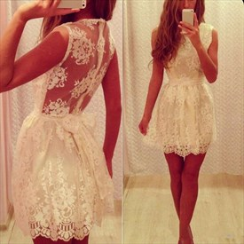 White Sheer Back Sleeveless Lace Embellished Mini Homecoming Gown
