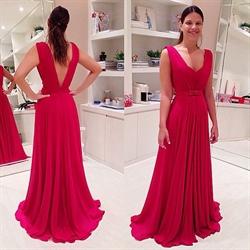 Red V Neck A Line Backless Chiffon Floor Length Formal Prom Dress