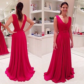 Red V Neck A Line Backless Chiffon Floor Length Formal Prom Dress