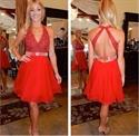 Red Halter V Neck Beaded Bodice Open Back Short Homecoming Dress