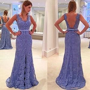 Lavender V-Neck Open Back Lace Embellished Long Bridesmaid Dress