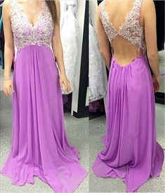 V Neck Lace Embellished Bodice Long Formal Gown With Open Back