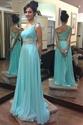 Turquoise Beaded Waist One Shoulder Long Chiffon Maid Of Bridal Dress