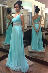 Turquoise Beaded Waist One Shoulder Long Chiffon Maid Of Bridal Dress