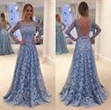 Light Blue Long Sleeve Open Back A Line Lace Floor Length Formal Dress