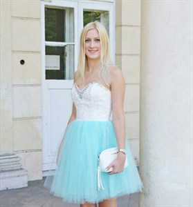 Two Tone Strapless Sweetheart Beaded Lace Top Short Homecoming Dress