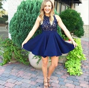 Navy Blue Lace Bodice Mesh Chiffon Skirt Knee-Length Cocktail Dress