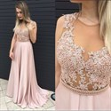 Blush Pink Sheer Illusion Beaded Bodice Chiffon Long Formal Prom Gown