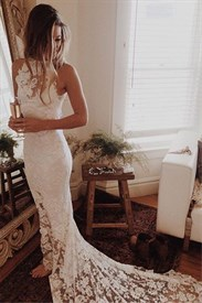Ivory High Neck Sleeveless Lace Mermaid Long Prom Gown With Train