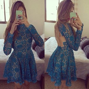 Teal Open Back Long Sleeve Short Lace Skater Homecoming Dresses
