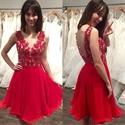Red V-Neck Sleeveless Lace Top Chiffon Bottom Short Homecoming Dress