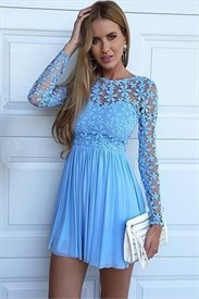 Mesh Lace Bodice Long Sleeve Chiffon Bottom Short Homecoming Dresses