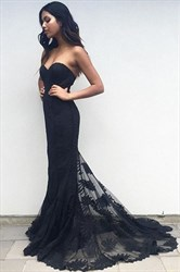 Black Strapless Sweetheart Lace Overlay Mermaid Long Formal Dress