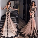Luxury Long Sleeve Embellished Lace Overlay Prom Dress With Train