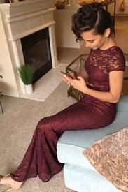 Burgundy Two Piece Short Sleeve Floor Length Sheath Lace Prom Dress