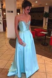 Baby Blue Strapless Sweetheart Beaded Neckline Long Evening Dress