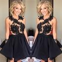 Vintage Sheer Black Lace Embellished Bodice Short Skater Party Dress