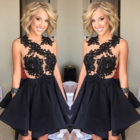 Vintage Sheer Black Lace Embellished Bodice Short Skater Party Dress