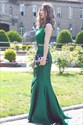 Emerald Green Two Tone Lace Beaded Embellished Mermaid Evening Dress