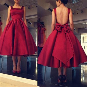 Burgundy Open Back Tea Length Homecoming Dress With Bow On Back