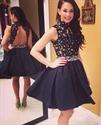 High Neck Lace Bodice Open Back Short Embellished Homecoming Dress