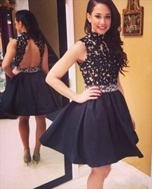 High Neck Lace Bodice Open Back Short Embellished Homecoming Dress