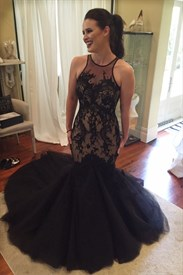 Black Sheer Lace Embellished Mermaid Tulle Prom Dress With Long Train