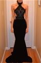 Vintage Black High Neck Sheer Open Back Embellished Long Evening Dress