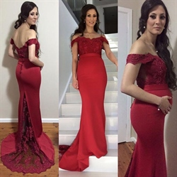 Dark Red Off The Shoulder Lace Bodice Long Mermaid Bridesmaid Dress